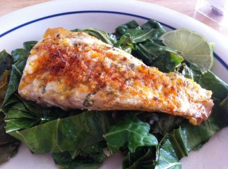 Easy grouper on a bed of collard greens